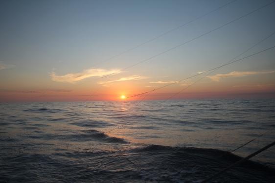 Levé de soleil et lignes à l'eau
